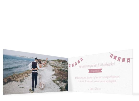 Hochzeitsdanksagung , Motiv: Wimpelkette, Innenansicht, Farbvariante: Altrosa