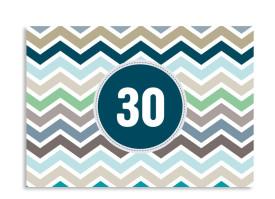 Einladung zum 30. Geburtstag ZigZag (Postkarte, ohne Foto) Blau