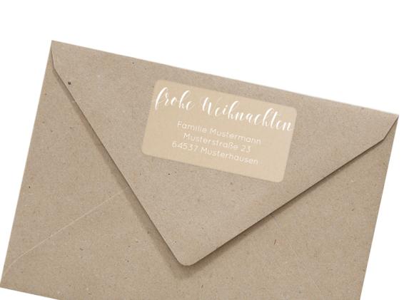 Adressetikett zu Weihnachten rechteckig , Motiv: Kartenformat, mit Briefhülle, Farbvariante: weiss