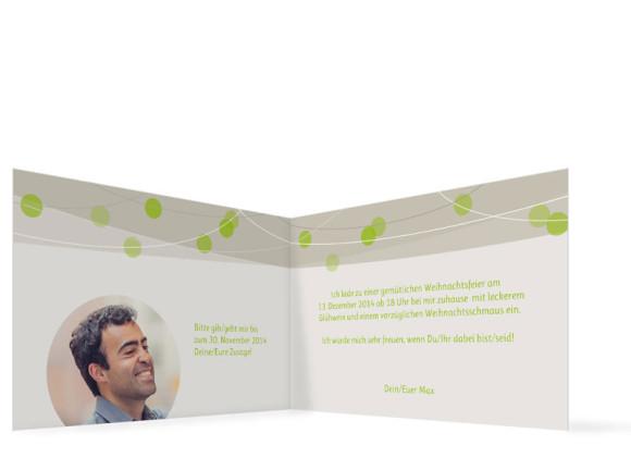 Einladungskarten Lampion, Innenansicht, Farbversion: grün