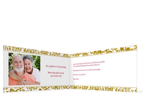 Innenansicht, Einladungs-Klappkarte zur Goldenen Hochzeit (Format DIN Lang), Motiv Barcelona, Farbversion: beige