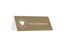 Tischkarten zur Hochzeit Pur (Klappkärtchen quer) Beige/Weiß