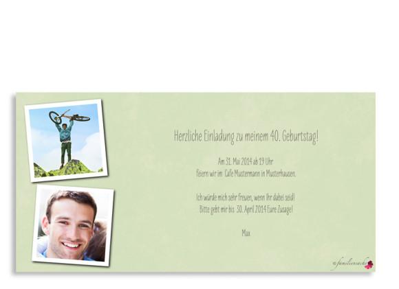 Vorderseite, Einladung zum 40., Motiv Vintage Star, Farbversion: grün/grau