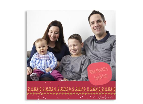 Postkarte zu Weihnachten Mistelzweig mit Bild, Rückseite in rot