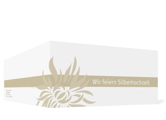 Außenansicht, Einladungs-Klappkarte zur Silbernen Hochzeit (Format DIN Lang), Motiv Florenz, Farbversion: beige