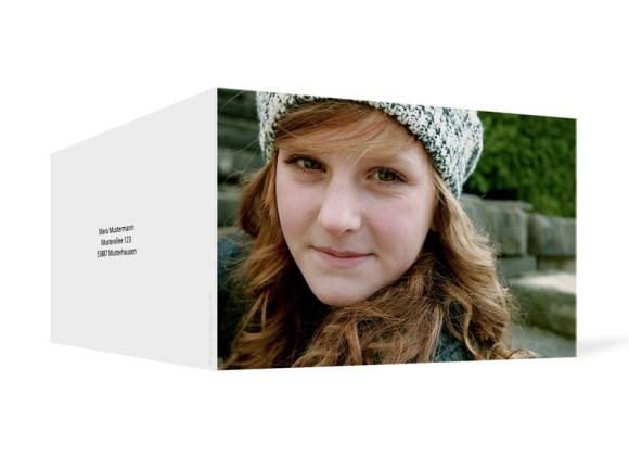 Außenansicht, Geburtstagseinladung, Motiv Fotokarte, Farbversion: blanko