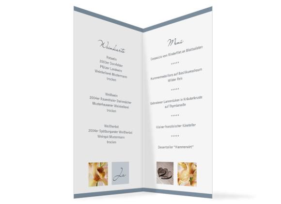 Innenansicht, Menükarte zur Hochzeit (Klappkarte), Motiv Saint Tropez, Farbversion: blau