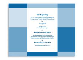 Windlicht Stockholm als Hochzeitsmenükarte Blau