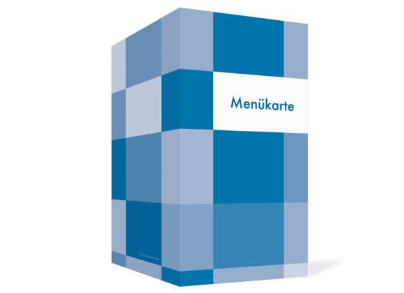 Außenansicht, Menükarte zur Hochzeit (Klappkarte), Motiv Stockholm, Farbversion: blau