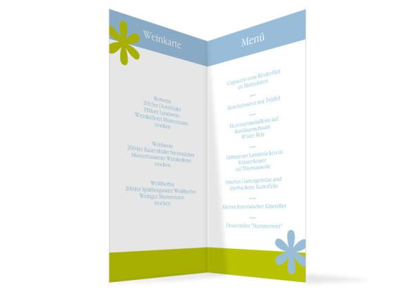 Innenansicht, Menükarte zur Hochzeit (Klappkarte), Motiv Berlin, Farbversion: blau-gruen