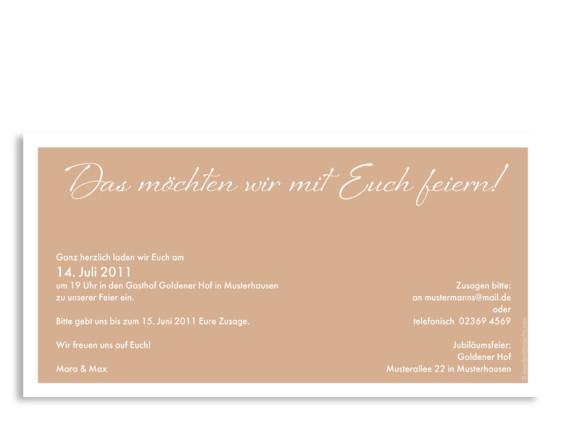 Rückseite, Einladungs-Postkarte zur Goldhochzeit, Motiv Verona, Farbversion: beige