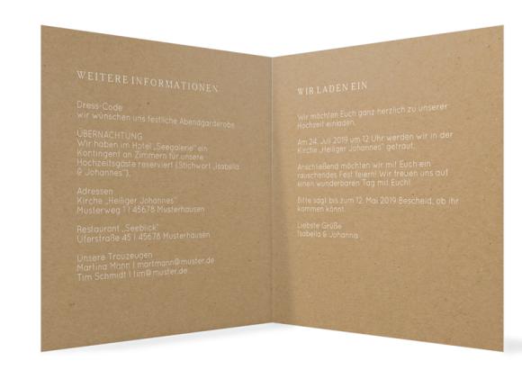 Einladung zur Hochzeit (quadr. Klappkarte, Kraftpapier), Motiv: Malaga, Innenansicht, Farbvariante: weiß