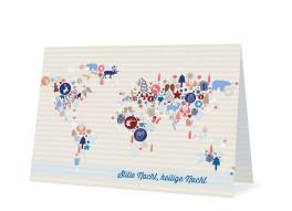 Weihnachtskarten Weltkarte (Klappkarte)