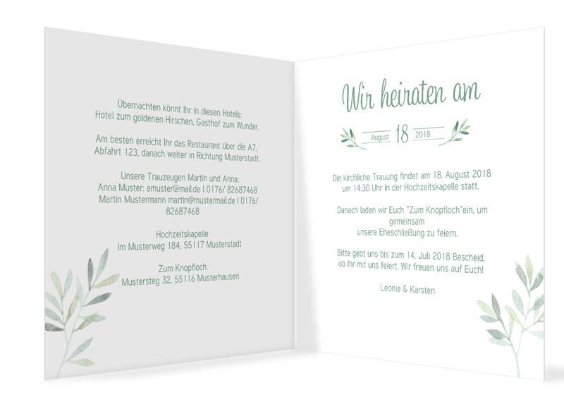 Hochzeitseinladung Blatterkranz Familiensache