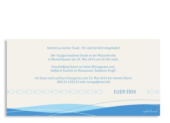 Einladungen zur Taufe Esther/Erik, Rückseite der Farbversion: blau