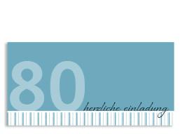Einladungskarte Stripes 2 zum 80. Geburtstag (Postkarte)