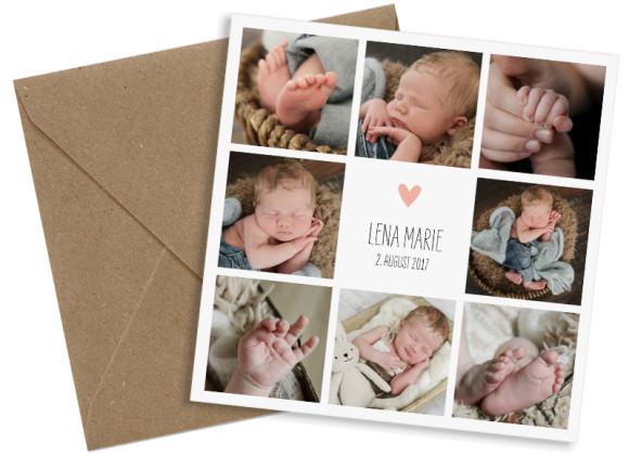 Danksagung zur Geburt, Motiv: Lena/Lars, (quadratische Postkarte), mit Briefhülle, Farbvariante: apricot