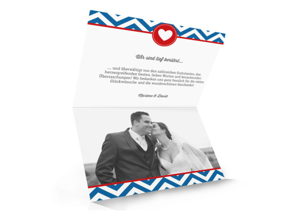 Hochzeitsdanksagungen Hamptons Heart, Innenansicht der Farbversion: blau/rot