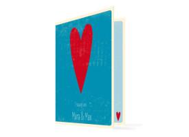 Kirchenheft zur Hochzeit Vintage Heart (Klappkarte) Blau