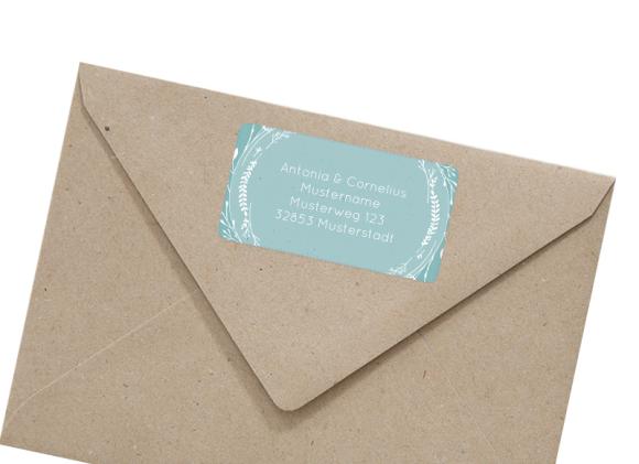 Adressetiketten (66x35 mm), Motiv: Blumenkranz (AE), mit Briefhülle, Farbvariante: tuerkis