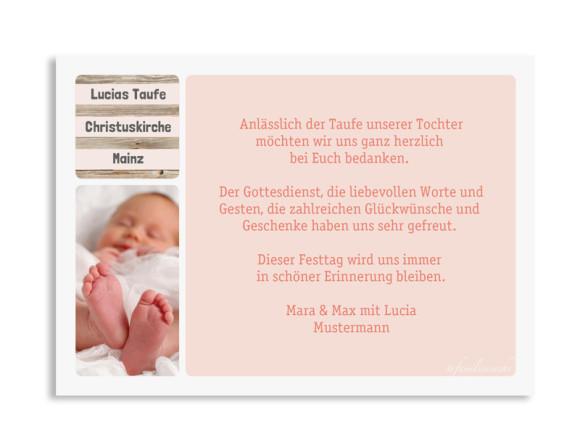 Danksagungskarten zur Taufe Lucia/Luca, Rückseite in apricot