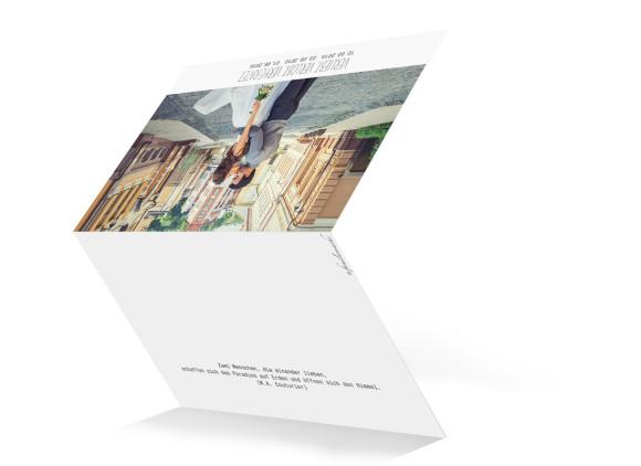 Danksagungskarten zur Hochzeit Blanche, Außenansicht der Farbversion: weiß
