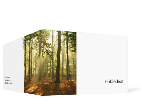 Danksagung Trauer Wald, Außenansicht, Farbversion: weiß