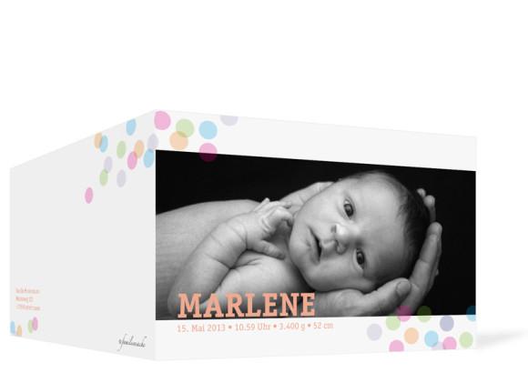 Außenansicht, Klappkarte zur Geburt, Motiv Marlene/Marlon, Farbversion: apricot
