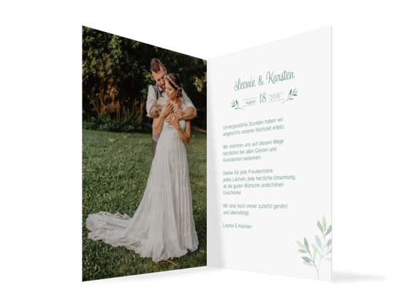 Danksagung Hochzeit (Klappkarte C6), Motiv: Blätterkranz, Innenansicht, Farbvariante: gruen