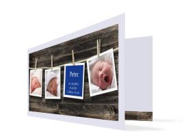 Geburtskarte Heidi/Peter (Klappkarte DIN Lang) Blau