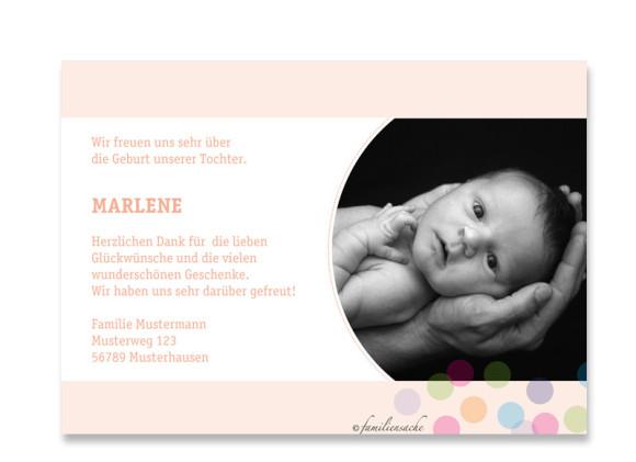 Rückseite, Postkarte zur Geburt, Motiv Marlene/Marlon, Farbversion: apricot