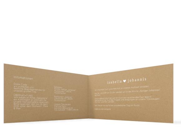 Einladung zur Hochzeit (Klappkarte DL quer), Motiv: Malaga, Innenansicht, Farbvariante: weiß