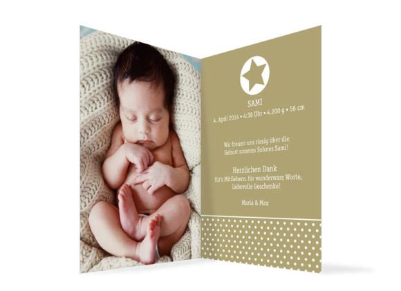 Geburtskarte, Motiv Sina/Sami, Innenansicht, Farbversion: beige