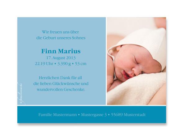 Innenansicht, Geburtskarte, Motiv Finja/Finn, Farbversion: blau