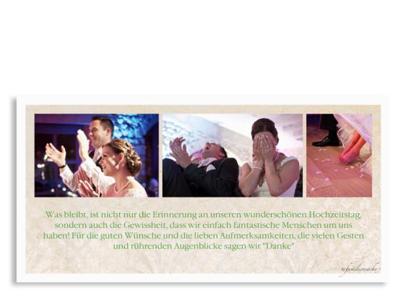 Postkarte als Hochzeitsdanksagung Budapest, Rückseite in grün