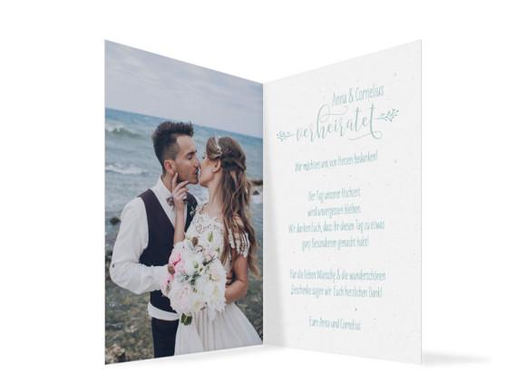 Hochzeitsdanksagung  (Klappkarte), Motiv: Blumenkranz, Innenansicht, Farbvariante: Türkis