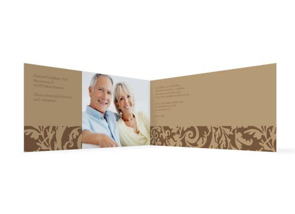 Innenansicht, Einladungs-Klappkarte zur Silbernen Hochzeit (Format DIN Lang), Motiv Rokko, Farbversion: beige/braun
