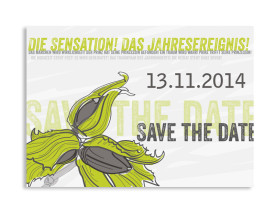 Save The Date Karten Drei Haselnüsse (Postkarte) Grün