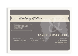 Save-The-Date Flugticket (Postkarte) Beige