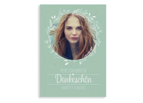 "Konfirmationsdanksagung ""Henriette/Henry"" (Postkarte A6 hoch)"