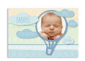 Geburtskarten Gwen/Gabriel (Postkarte) Blau