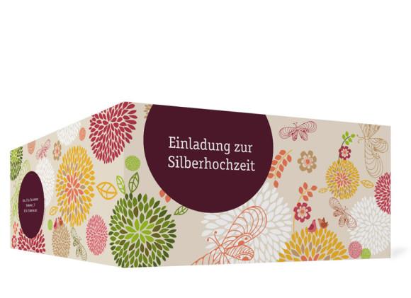 Außenansicht, Einladungskarte zur Silberhochzeit (Format DIN Lang, Klappkarte), Motiv Lissabon, Farbversion: bordeaux