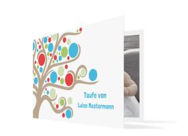 Taufdanksagung Lebensbaum Blau