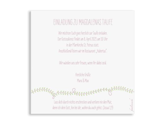 Einladung zur Taufe (quadratische Postkarte), Motiv: Lorbeerblatt, Rückseite, Farbvariante: altrosa