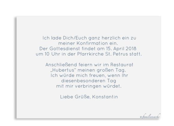 Konfirmationskarte als Postkarte A6 ohne Foto, Motiv: Ausblick, Rückseite, Farbvariante: dunkelblau