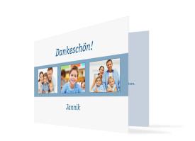 Kommunionsdanksagung Jette/Jannik (Klappkarte) Blau