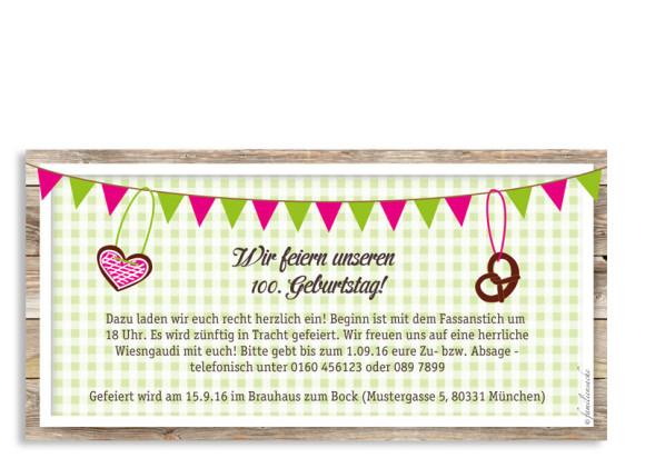 rustikale Einladungskarten zum Geburtstag München, Rückseite in grün/pink