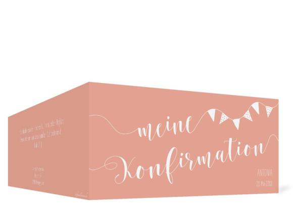 Karte zur Konfirmation (Klappkarte im Format DIN Lang), Motiv: Frühlingsfrisch, Rückansicht, Farbvariante: apricot
