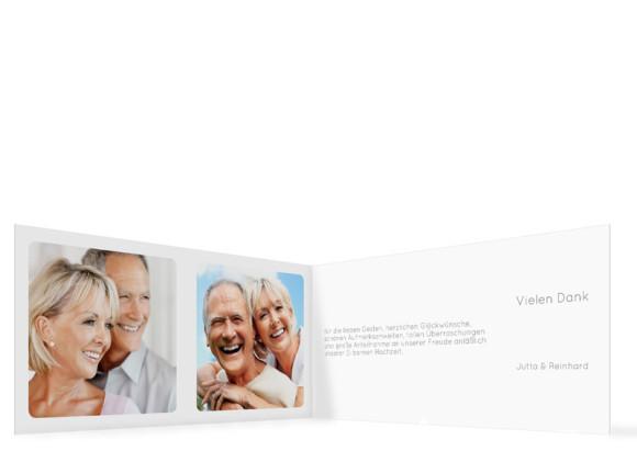 Danksagung zur Silberhochzeit, Motiv Kreta (Klappkarte DL quer, ohne Foto), Innenansicht, Farbversion: grau