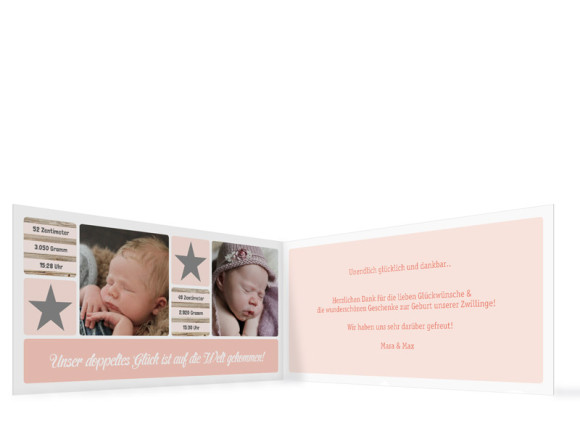 Geburtskarte für Zwillinge Lucia/Luca, Innenansicht in der Farbvariante: apricot